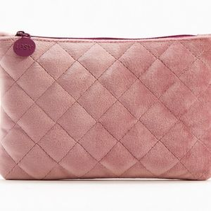 Rose-colored Quilted Makeup Bag NWOT